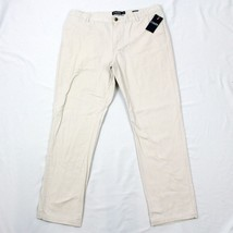 NEW Chaps Custom Fit Stone Pants Size 38 / 32 Beige Flat Men Business Ca... - $35.88