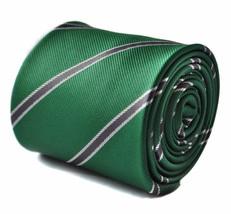 Frederick Thomas verde scuro e grigio Squadra a righe da uomo CRAVATTA ft1703