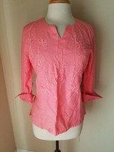 Alice Blue Women's Top Pink 3/4 Sleeve Split Neck Tunic Blouse Bows S - $27.89