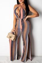 Sexy Striped Printed One-piece Jumpsuit - $27.82