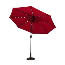 9 Foot Outdoor Color Changing Solar Lighted Patio Umbrella w/Tilt Red - $233.90 CAD