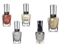 5 Sally Hansen Complete Salon Manicure Nail Polish Gold Silver Copper Gl... - $14.99