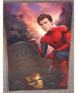 Spiderman at Tony Stark Grave Glossy Art Print 11 x 17 In Hard Plastic S... - $24.99