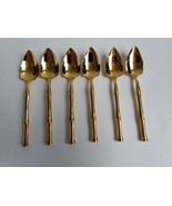 "6 Gold Bamboo Cane Fruit / Orange Spoons Supreme Cutlery 5-3/4"" - $24.99"