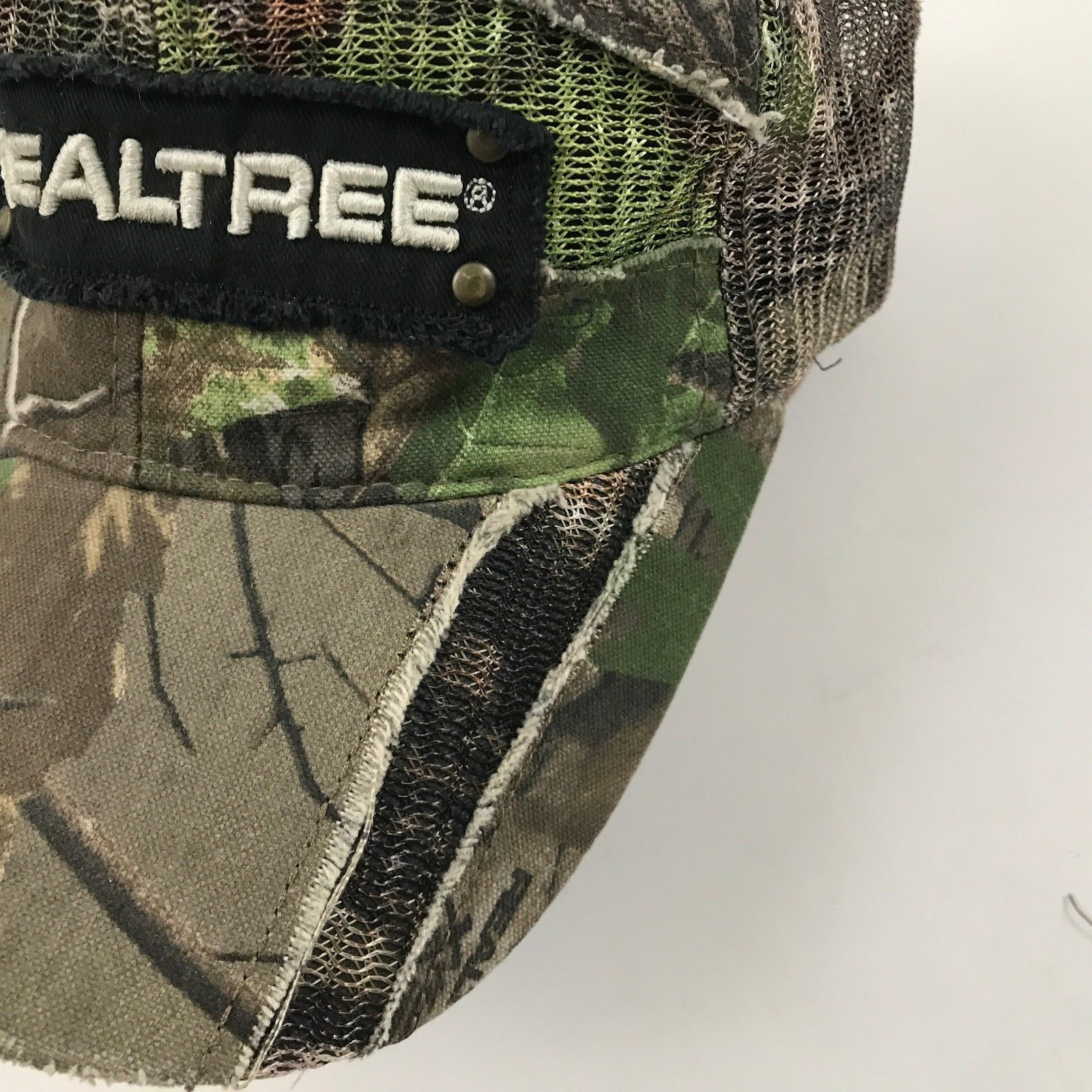 REALTREE Camouflage Strapback Trucker Hat Distressed Camo Baseball Cap Frayed