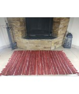 Rustic Fireproof Fireplace Carpet Shiny Red Hearth Fire Resistant Mat Rug - $89.00