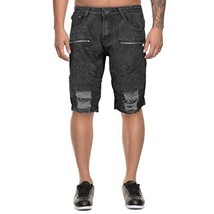 LR Scoop Men's Moto Quilted Distressed Skinny Jean Denim Shorts DZM-80 (38, Blac