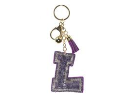 Purple Initial L Tassel Bling Faux Suede Stuffed Pillow Key Chain Handba... - $12.95