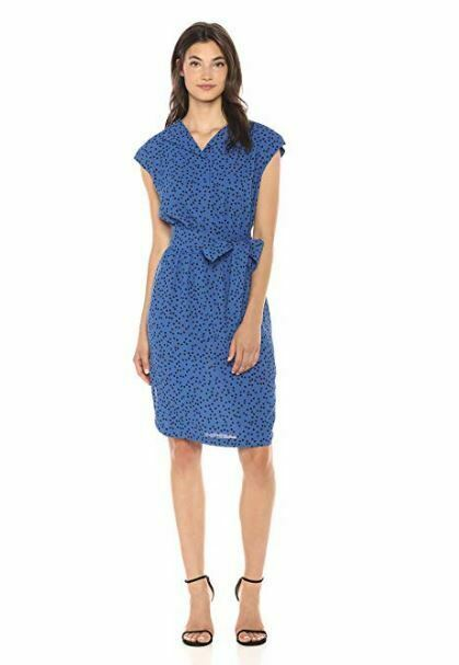 Primary image for Anne Klein Women's Short Sleeve Shirt Dress CEZANNE BLUE/BLACK SIZE LARGE MSRP$1