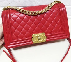 100% AUTHENTIC CHANEL RED QUILTED LAMBSKIN MEDIUM BOY FLAP BAG GHW image 8