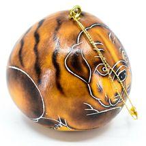 Handcrafted Carved Gourd Art English Bulldog Puppy Dog Ornament Handmade in Peru image 4
