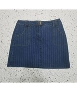 Women's Bamboo Traders Denim Skirt ~ Sz 10 ~ Above Knee ~ Blue w/ White ... - $24.74