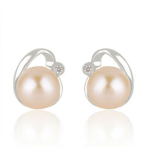 Pink Pearl Gemstone Beautiful 925 Fine Silver Cute Stud Earrings Jewelry - $20.79