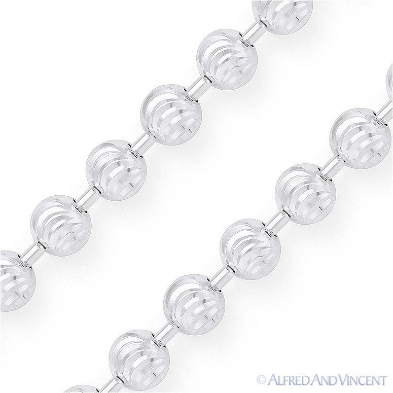 Moon Cut 4.1mm Ball Bead Chain Necklace in .925 Italy Sterling Silver w/ Rhodium