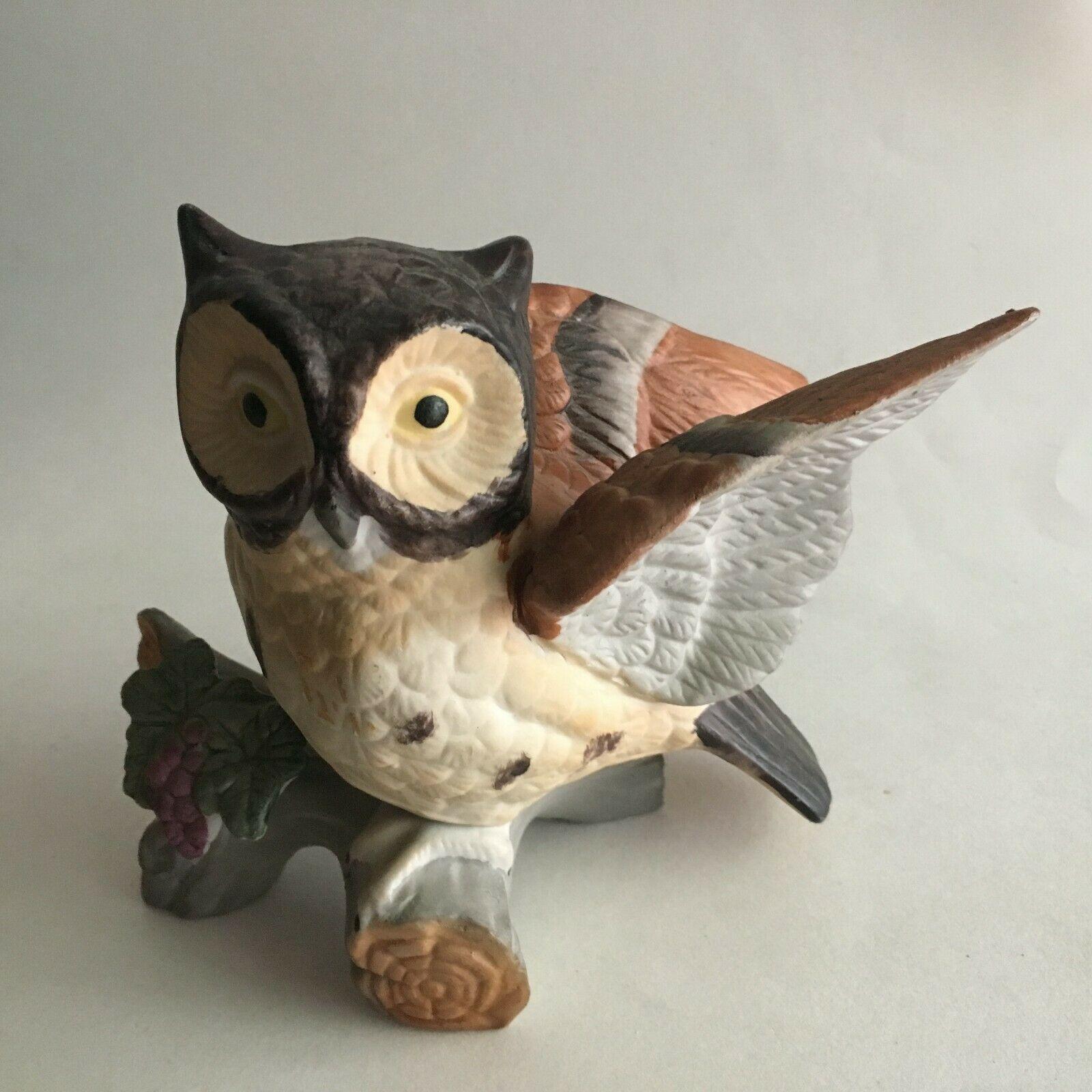 "Vintage Owl on Branch Ceramic Figurine Statue Collectible 6""X5""X3"" Mid Century"