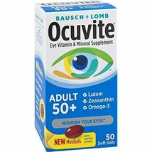 50 Count, Bausch & Lomb Ocuvite Adult 50+ Eye Vitamin & Mineral Softgels 50... - $17.29