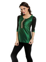 Ira Soleil green top with embroidered lace - $49.99