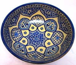 Moroccan Hand Painted Medium Ceramic Blue Fes Bowl - $1.694,00 MXN