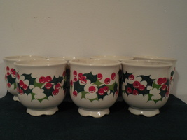 7 Lenox Candle Holders vintage holly berry candle holder tea light candle holder - $45.00