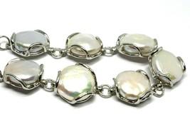 Silber Armband 925, Perlen Barock-Stil Scheibenbremse, Flach, Durchmesse... - $306.97