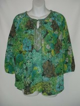 SMALL S FIG AND FLOWER GREEN BLUE LACE SHEER FLORAL BLOUSE  - $27.90