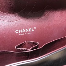 AUTHENTIC CHANEL BLACK LAMBSKIN QUILTED JUMBO DOUBLE FLAP BAG SILVER HARDWARE image 8