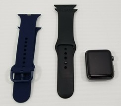 N) Apple Watch 7000 series 42mm - Space Gray with Black and Blue Straps - $98.99