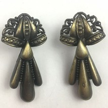 Vintage JJ Earrings Dark Bronze Tone 1980s Signed Pierced Dangle Jonette... - $14.80