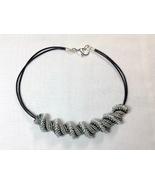 Necklace Handmade Women Short Bead Woven Spiral Black Gray Silver  Leath... - $70.00