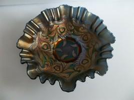 Fenton Cobalt Blue Carnival Glass Bowl Heart & Vine Pre Logo Ruffled - $59.99