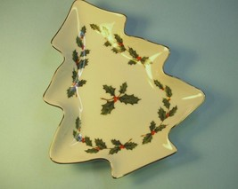 Lefton China Holiday Candy Dish Christmas Tree with Holly - $14.55
