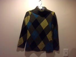 Jones New York Cool Colored Argyle Wool Turtleneck Sweater Sz M