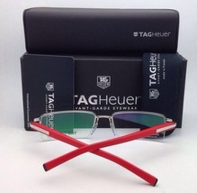 New TAG HEUER Eyeglasses TH 0804 005 57-16 Silver Red & Black w/ Clear Lenses