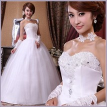 Old Fashioned Rhinestone Beaded Princess Strapless Lace Up Back Wedding Gown