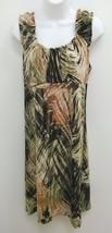 Axcess Liz Claiborne Sz Large Green Black Salmon Knee Length Dress B273 - $19.98