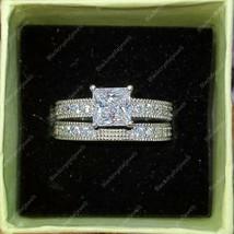 1Ct Vintage Style Princess Diamond Eternity Wedding Ring Set 14k White G... - $129.00