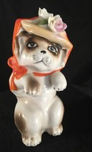 Vtg Ceramic Dog with Hat and roses Possibly from Japan unusual - $5.00