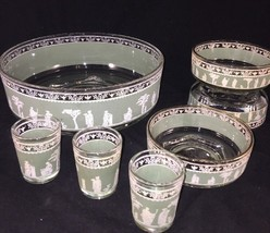 lot of 7 green wedgwood jasperware bowls serving bowl and shot glasses - $21.04