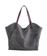 Women Canvas Shoulder Bags Top-wave Solid Large Casual Shopper Totes Han... - ₨1,301.13 INR