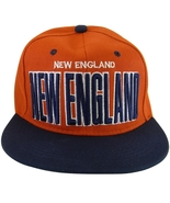 New England Adjustable OSFA Flat Bill Snapback Baseball Cap Hat Red/Navy... - $9.95