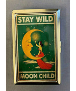 Stay Wild Moon Child D2 Silver Metal Cigarette Case RFID Protection Wallet - $13.81
