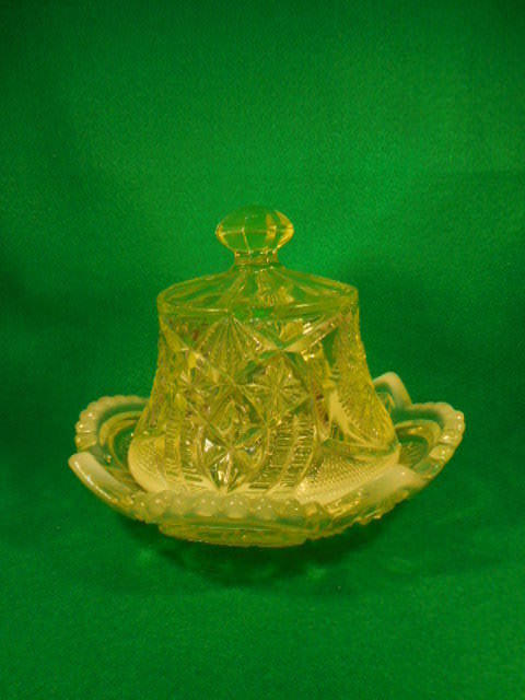 Vintage Northwood Sunburst Shield Topaz Opalescent Vaseline Covered Butter Dish