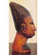 "Vintage Hand Carved African Ebony Wood ""Woman Head Bust Statue"" Sculptur... - $125.00"