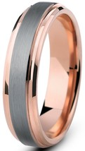 Rose Gold 6mm Tungsten Ring Wedding Band Beveled Comfort Fit Sizes 4-16 ... - $23.95