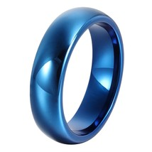 Blue 6mm Tungsten Ring Wedding Band Polished Comfort Fit Sizes 4-16 & Half - $23.95