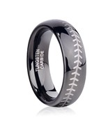 6mm Tungsten Ring Wedding Band Baseball Engrave Comfort Fit Sizes 4-16 &... - $39.95