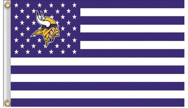 NFL Minnesota Vikings Stars & Stripes 3'x5' Indoor/Outdoor Team Nation Flag Pr/W