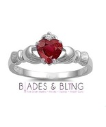 Claddagh Ruby CZ size 5 Sterling Silver ring Irish Love Red Womens Promi... - $19.14
