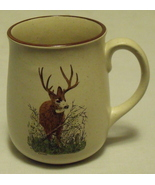 Ceramic Tan with Brown Trim Coffee Tea Mug with Deer - $4.95