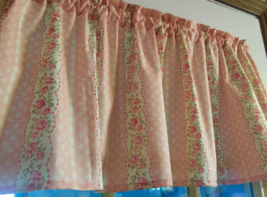 "Pink Roses Floral Cotton Shabby Chic  Window Curtain Valance 42""wide 15""... - $10.88"